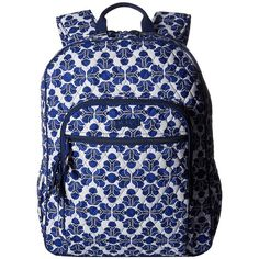 Vera Bradley Campus Backpack (Cobalt Tile) Backpack Bags ($109) ❤ liked on Polyvore featuring bags, backpacks, patterned backpacks, vera bradley backpack, multi color backpack, multi colored backpacks and cotton bags