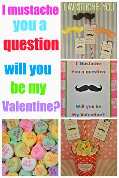 Valentine DIYS with free printable tags and mustace lollipop tuturial...blog filled with lots of eye candy!