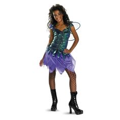 Sassy Fairy Teen Halloween Costume - This beautiful fairy dress is made from green lame that has a ruffle look all the way down the front. It has purple sequins sewn into the ruffle, along with the sleeves. The sleeves also have bits of green lame and purple netting made to stick up. The skirt portion had purple netting and a soft purple under layer, and it has that tattered look to it. #fairytale #teen #yyc #costume #calgary