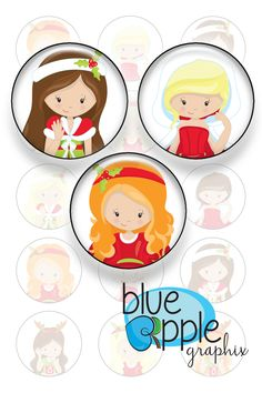 Simple Christmas Girls - One inch bottle cap images - JPG format - 4x6