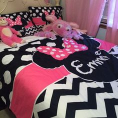 Personalized Minnie Mouse Ears with Bow Girls Bedding Set by Southern Basics on Etsy