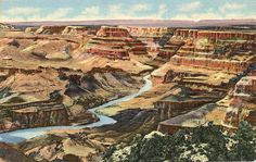 Vintage Arizona postcard of Grand Canyon National Park of desert view & Colorado River north from Watch Tower.