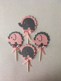 10 Pink And Gray Elephant Cupcake Toppers, Elephant Baby Shower, Elephant Party Favors, Pink & Gray Elephant Baby Shower Centerpiece by PartyFunForKids on Etsy
