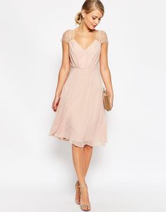 Image 4 of ASOS Kate Lace Midi Dress in Nude $85