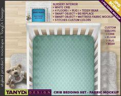 Crib Mattress Photoshop Styled Fabric Mockup | White Crib top view | 12 Nursery Interior JPG Scenes | PSD Custom colors