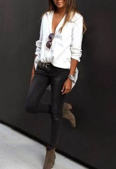 Simple button down shirts are perfect for winter date night outfits!