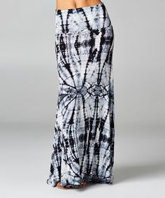 A La Tzarina Black & White Tie-Dye Maxi Skirt - Women by A La Tzarina #zulily #zulilyfinds