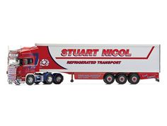 Scania R Fridge Trailer Diecast Model Lorry by Corgi CC13750 This Scania R Fridge Trailer Diecast Model Lorry is Red and White and features working wheels. It is made by Corgi and is 1:50 scale (approx. 40cm / 15.7in long).    With a fleet of over 30 vehicles, the independent haulage contractor, Stuart Nicol Transport Ltd combines a passion for trucking with high quality service. Based in Shotts, Scotland and with multiple depots located strategically throughout the UK, the firm is proud to…