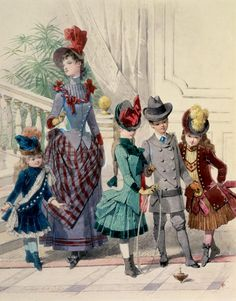 Victorian, 1880s fashion plate. Fashions for the lady and children too!