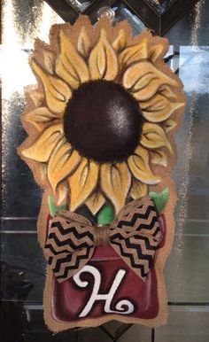 Hand Painted Burlap Potted Spring Flower Sunflower on Etsy, $35.00