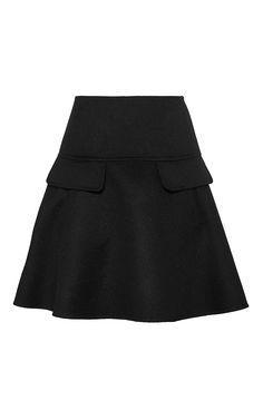Black Virgin Wool A Line Skirt by OSCAR DE LA RENTA Now Available on Moda Operandi