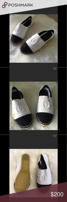 White black Canvas Chanel Espadrilles White black Canvas Espadrilles. Not Chanel. They run a full size smaller Eu49(9.5). Designer inspired. Great quality CHANEL Shoes Espadrilles