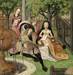 Detail from the Garden of Pleasure, showing lutenist and singers near a fountain. From the Roman de la Rose, Netherlands (Bruges), c. 1490 – c. 1500, Harley MS 4425, f. 12v