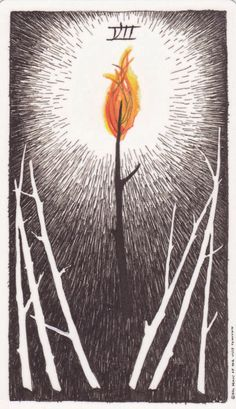 """Seven of Wands - Tarot of the Wild Unknown  """"The Seven of Wands is about holding your ground, despite ongoing challenges. You need to take a stand and defend your position. This will take courage and persistence but you have the strength and determination to do it."""""""