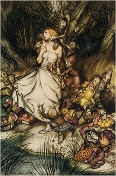 """Arthur Rackham, Goblin Market, """"White and golden Lizzie stood, like a lily in a flood, like a rock of blue-veined stone washed by tides obstreperously, like a beacon left alone in a hoary roaring sea..."""" Christina Rossetti"""