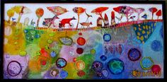 Elke Trittel acrylic,collage on board 35x70cm