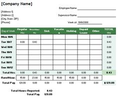 6 free timesheet templates for tracking employee hours - Time Card Tracker