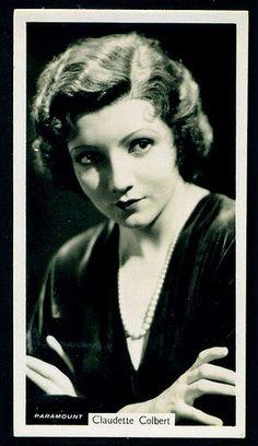 "Cigarette Card - Claudette Colbert   John Sinclair Cigarettes (Newcastle) ""Film Stars"" (series of 54 issued in 1937) #6 Claudette Colbert"