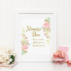 Mimosa Bar Printable Drink Table Sign Wedding Table Sign Shower Table Sign Party Sign Watercolor Pink Flowers Floral Table Top Sign Gold by MossAndTwigPrints on Etsy