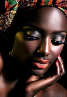 beautiful black sister. Flawless skin! Gorge eye makeup and lip color!!