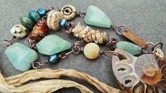 SEA QUEEN - ammonite, mixed media, sari silk, copper, amazonite, amber, ceramic…