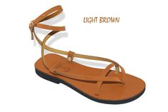 Double Ankle Strap Leather Sandals With Buckle  Sunshine