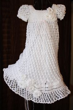 The Ella - Crochet Baby Dress, Christening Gown, Blessing Dress, Baptism Dress, Confirmation, Crochet Treasured Heirloom. $120.00, via Etsy.