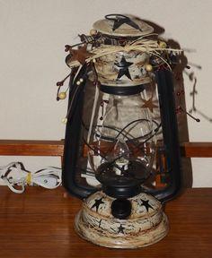 New Primitive Folk Art FALL BLESSINGS HOUSE PUMPKIN LIGHT Lantern Electric Lamp