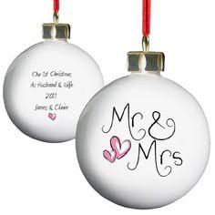 Mr & Mrs Christbaumkugel. Ideales Geschenk für Hochzeiten, Taufen, Geburtstage, Weihnachten etc.