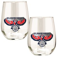 NBA Atlanta Hawks Stemless Wine Glass Set 2Piece 15Ounce Clear * See this great product.