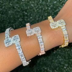 50th Birthday Party Decorations, Bangle Set, Diamond Sizes, Trendy Jewelry, Personalized Necklace, Gold Bangles, Pink Roses, 18k Gold, Take That