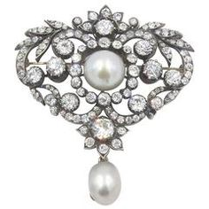 Antique Belle Epoque Louis XV Style Diamond  Pearl Brooch