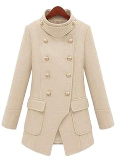 Ladylike Stand Collar Double-breasted Long Sleeves Slimming Woolen Coat    dresslily.com
