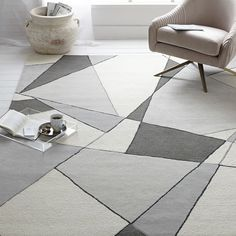 This ultra geometric wool rug is a result of our collaboration, and each is handcrafted in India.