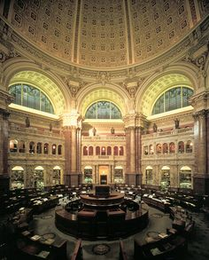 Washington, D.C. - Main Reading Room at the Library of Congress.  My brother-in-law works there and used to have an office on one of the upper balconies overlooking this room.  Seeing the inner workings and back rooms was fascinating