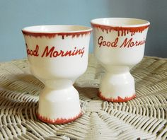 Pair of Vintage Good Morning Egg Cups op Etsy, 10,06 €
