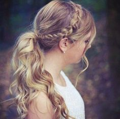 Ponytail with Side Braids, wonderful hair choice  for long wavy hair girls