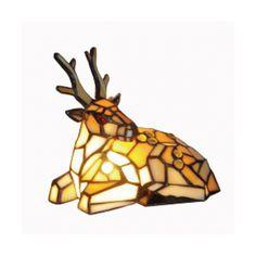 Loxton Lighting Reindeer Tiffany Table Lamp