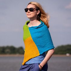 Hand Knitted Summer Poncho in Blue Green Mustard Colour / Cotton Knit Beach Wear One Size/ Multicolored Large Scarf /Knit Woman Sweater – The Best Ideas Knitting Wool, Knitted Poncho, Baby Knitting, Scarf Knit, Knitting Patterns, Poncho Scarf, Large Scarf, Cotton Crochet, Trends