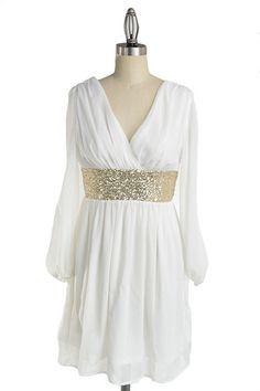 *** SALE *** Roman Goddess Long Sleeve Sequin Dress - White + Gold $25.00