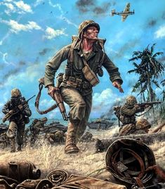 Pinturas II Guerra Mundial — 1944 US marines in the Pacific - Dan Nance