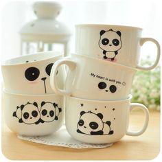 Cute kawaii pandas found on mugs. Panda Love, Cute Panda, Panda Nursery, Panda Painting, Panda Party, Panda Gifts, Panda Wallpapers, Sharpie Crafts, Diy Mugs