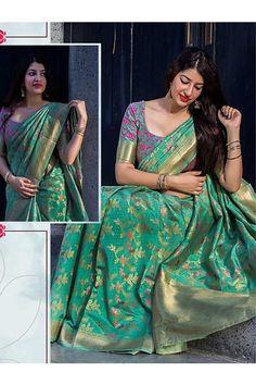 Cyan Colored Beautiful Banarasi Silk Saree With Matching Blouse | www.grabandpack.com | #saree #weaving #lotusvol11 #manjubaa #branded #original Latest Silk Sarees, Soft Silk Sarees, Silk Saree Kanchipuram, Banarasi Sarees, Patiala, Saree Blouse Neck Designs, Bridal Blouse Designs, Stylish Blouse Design, Stylish Dress Designs