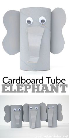 Grab some paint and googly eyes to transform a cardboard tube into a cute and fun elephant craft. Recycled crafts don't get any better than this! #kidscraft #recycledcraft #CreativeFamilyFun
