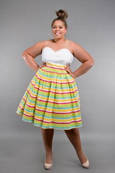 3f0806c68d3 High Waisted Pencil Skirt Plus Size Jibri Plus Size High Waist Flare Skirt  Candy Stripe Print