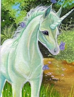 Acrylic Miniature featuring a curious unicorn foal Hand-embellished, limited edition prints available from my ebay shop ->