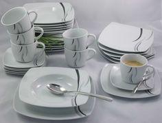 Porzellan Tafelservice Essservice Kombiservice 30tlg TK-967 Black Sky NEU & OVP Sky, Plates, Tableware, Black, Dinner Sets, Heaven, Licence Plates, Dishes, Dinnerware