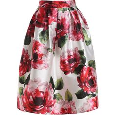 SheIn(sheinside) Red Floral Flare Long Skirt featuring polyvore fashion clothing skirts red floral skirt long flared skirts long maxi skirts long floral skirts flared maxi skirt