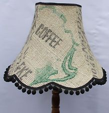 Vintage lampshade handmade hessian coffee sack fabric standard lamp / ceiling