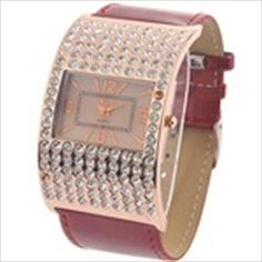 Golden Toned Arched Quartz PU Leather Wrist Watch Analog Watch Timepiece with Rhinestones for Woman Lady - Red Strap